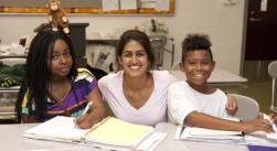 Shown above (left to right): Maya (Student), Simran (Teacher), and  Jonathan (Student) in a chemistry class.  Photo by Spector Photography