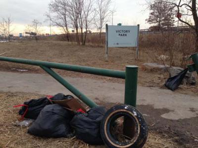 Park needs clean-up: Trash and debris piled up at Victory Road Park last weekend. Photo by Steve Bickerton, Jr.