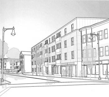 Viet-AID's Four Corners housing project: The Boston Redevelopment Authority's board approved a Viet-AID project last week that will build 35 units of new housing on 9 vacant lots in Four Corners. Above, an artist's rendering of the residential development proposed for 324 Washington St.
