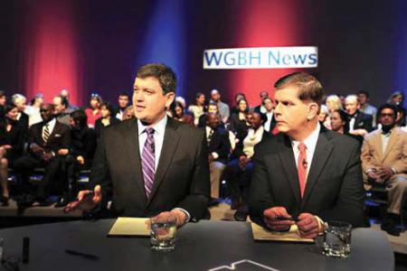 Second mayoral debate: City Councillor John Connolly, left, and State Rep. Marty Walsh are shown on the set of a televised debate held at WGBH studios in Allston on Tuesday evening. Photo by Meredith Nierman/WGBH News
