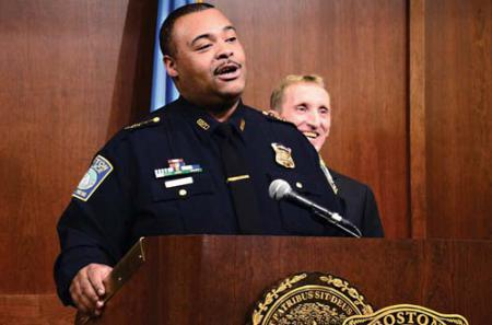 Number two at BPD: Superintendent-in-Chief William Gross spoke at a press conference last week as Boston Police Commissioner William Evans, behind him, looked on. Photo by Chris Lovett