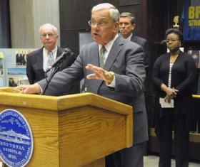 Menino slams bus driver strike: The mayor called for striking bus drivers to return to their jobs tomorrow. Photo by Isabel Leon/Mayor's Office
