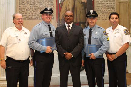 Suffolk County Sheriff Awards: Assistant Deputy Superintendent Joe Casey, Deputy Patrick O'Brien, Superintendent of the Nashua Street Jail Eugene Sumpter, Deputy Stephen Miller and Deputy Superintendent Cliff Carney.