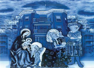 Adoration of the Magi: Students from the Cristo Rey Boston High School on Savin Hill Avenue designed this modern-day Nativity scene with Savin Hill artist James Hobin. The image is part of a larger mural that will be installed on the side of the school n