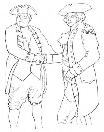 Washington and Knox: Colonel Knox and General Washington. Illustration by James Tobin