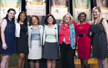 NEWLA 2013: Boys and Girls Clubs of Dorchester members gathered at the 20th Anniversary of the New England Women's Leadership Awards with honorees (L-R) First Lady Diane Patrick, US Attorney Carmen Ortiz, and Margaret Blood.