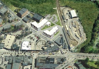 Mattapan Sq. proposal: A view from above shows where the Nuestra-POAH proposal would position two new residential buildings next to Mattapan Sq. station.