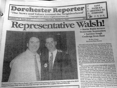 We Knew Him When: The cover of the March 13, 1997 Reporter carried news of Martin J. Walsh's special election victory. Shown with him is campaign manager Michael McDevitt. Photo by Bill Forry