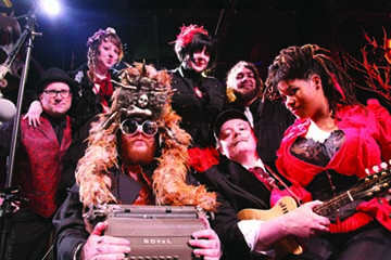 Walter Sickert & The Army of Broken Toys: Pictured clockwise from  left, Mike Leggio, Jojo Lazar, Edrie, T.J. Horn, Rachel Jayson, Meff, and Walter Sickert. Photo by Hans Wendland