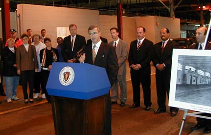 Gov. Paul Cellucci at Fields Corner station in Sept. 2000: Republican governor announced plans to rebuild Dot's crumbling MBTA stops. Photo by Bill Forry