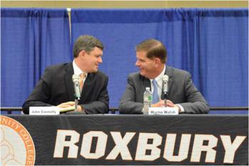 One will be the new mayor: John Connolly and Marty Walsh Photo by Chris Lovett