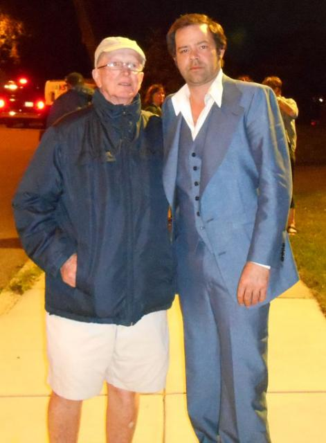 Ed Flynn with actor Rory Cochrane on Roslin Street set of 'Black Mass'