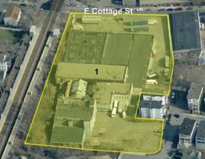 Maxwell site from the air: Proximity to Fairmount commuter rail station makes it a prime target for re-development. BRA image
