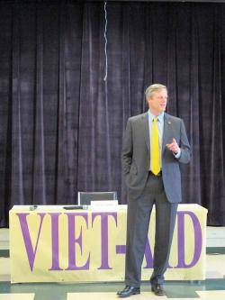 On the stump in Fields Corner: Charlie Baker makes a point. Photo courtesy Viet-AID