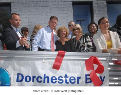 Quincy Street revitalization: Mayor Walsh and fellow elected officials at the Bornstein & Pearl Food Production Center opening on Monday. Photo by Don West