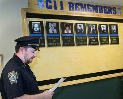 C-11 Boston Police Memorial: Officer Jimmy Dorion, who led the effort to create the memorial wall, led the ceremony last Saturday. Bill Brett photo