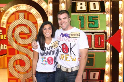 "Price Is Right contestant: Christopher Melanson and Angela Castagnozzi on ""The Price is Right"" stage."
