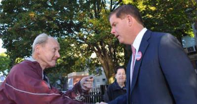 "Walsh on Election Day: Knew he would run ""immediately"" upon word of Menino's decision. Photo by Bill Forry"