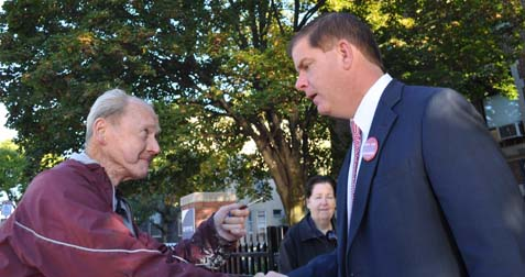 Decision Day: State Rep. Marty Walsh greeted a voter outside of the Cristo Rey School on Savin Hill Ave. this morning. Photo by Bill Forry