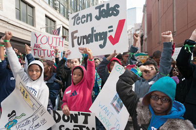 Rally for jobs: More than 1,200 students from in and around Boston gathered downtown last Thursday to march with the Youth Jobs Coalition, a Dorchester-based organization. Photo by Travis Watson