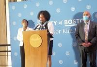Acting Mayor Kim Janey (center) at City Hall on Thursday. (Gintautas Dumcius photo)