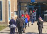 Voters lined up at the entrance to the Richard J. Murphy School in Dorchester. Ed Forry photo