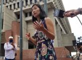 Michelle Wu outside Boston City Hall