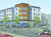 A rendering filed with the BPDA shows the proposed building that would rise at the corner of Blue Hill Avenue and Deering Road in Mattapan.