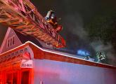 Firefighters at Bowdoin Street fire.