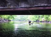 The Dorchester Kayak Club is led by John Larson, shown above paddling beneath a bridge on the Neponset River near Lower Mills
