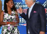 Fabienne Eliacin, left, with Robert Kraft