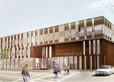 Architect's rendering of new charter-school building