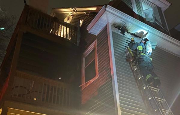 Firefighter battles fire at 24 York St.