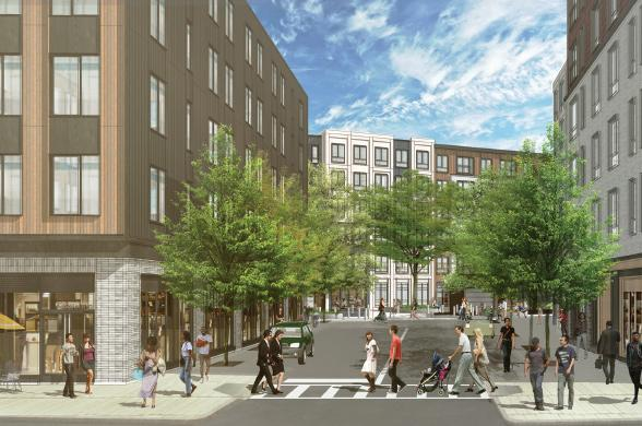 Architect's rendering of the view into the project from Hancock Street
