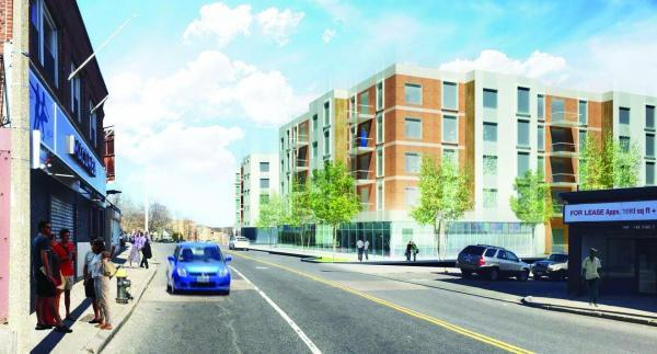 A rendering shows an early design of a mixed-use building on River Street planned by Nuestra Comunidad Development Corporation and the Preservation of Affordable Housing Inc.